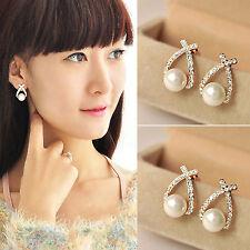 1 PR Elegant Pearl Crystal Rhinestone Ear Stud Earrings Women Fashion Jewelry Hi