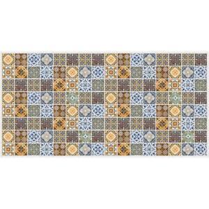 PVC 3D Morocco Blue Orange Brown Tile Interior Wall Panels Kitchen Cladding