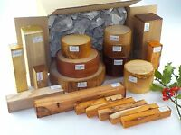 Wood turning blanks gift selection pack.  Box of mixed sizes and species.  60