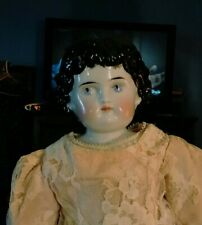 """Rare Mold 18"""" Antique High Brow China Head Doll in Antique Satin & Lace Dress8"""