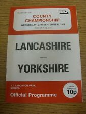 27/09/1978 Rugby League Programme: Lancashire v Yorkshire [At Widnes] (team chan