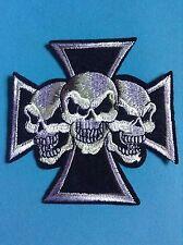 New Sew/iron on Patch Biker/chop/rock/skull/iron Cross/rally/military/TT/trike
