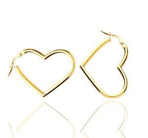 375 9ct Gold Tubular Heart Creole Hoop Earrings.