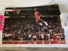 Vintage 1992 Nike Michael Jordan Slam Dunk Contest Poster Free Throw Line Bulls