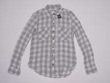 NWT Abercrombie & Fitch Gray & White Plaid Check Soft Button Down Shirt S