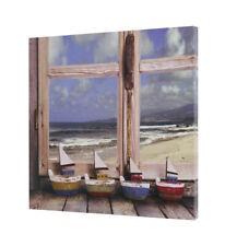 Leinwandbild 120x80cm auf Keilrahmen Schiffe,Boote,blau,orange,Hafen,Sonne,Berg