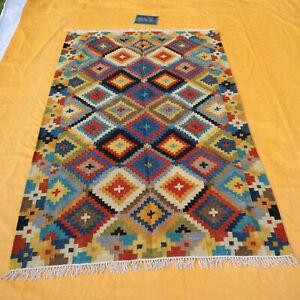 New Afghan Oriental Handwoven Ghazni Wool Kilim Carpet Area Rug 5x8 feet