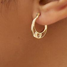 Sevil- Round Hoop Heart Earrings In 18K Gold Plating