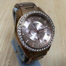 Fossil Rose Gold Tone Rhinestone Analog Quartz Watch Hours~Day Date~New Battery