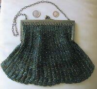 Antique Art Deco Gold T Fleur De Lis Filigree Frame Iridescent Green Bead Purse
