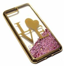 For iPhone 7 PLUS 8 PLUS - GOLD LOVE Pink Glitter Stars Liquid Water Case Cover