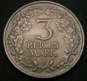 GERMANY (Weimar Republic) 3 Reichmark 1925 F - Silver - Rhineland - XF- - 487