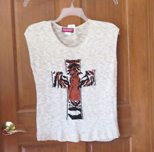 Say What Beige Gold Tiger Sleeveless Sweater XL  NWT