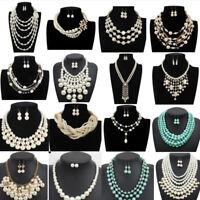 Pendant Chain Necklace Pearl Crystal Stone Chunky Choker Statement Fashion Bib