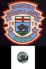 Manitoba Baseball Association 1976 Bison Buffalo Patch Burnaby BC Softball Pins