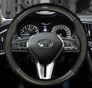 "15"" Car Steering Wheel Cover Genuine Leather For Infiniti"