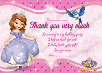 8 x Girls Birthday Party Thank you cards Sofia The First  +Free Envelopes