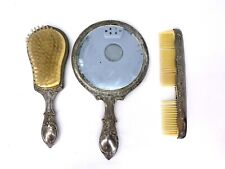 Vanity Set Silver Plated Hair Brush Comb Hand Mirror 3 Piece Set