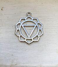 5PCS Silver Tone Hollow Carved Yoga Healing Nabhi Pendant 26mm