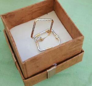 Orecchini Quadrati Placcati in Oro Giallo e Bianco 18k Eleganti per Donna