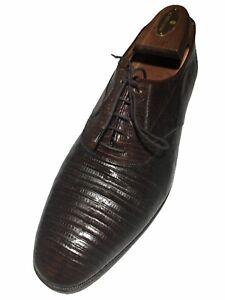 Bally Men's Vintage Genuine Lizard Brown Plain Toe Lace Up's -Size 9 M/US  42/EU