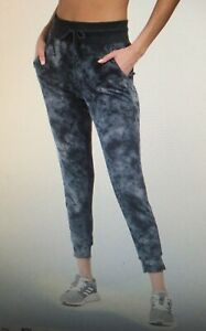 NWT RBX Womens Knit Jogger Ankle Pants Size Large Grey Elastic Waist Tie Dye $68
