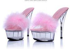 Fur Womens Open Toe Wedding Party Slipers Sandal Shoes 15CM Heels Platform 10.5