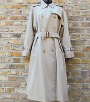 Burberry London Women's Beige Belted Nova Check Lined Trench Coat Size UK 16 VTG