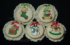 Set of 5 Vintage Hand-Crafted Embroidery Hoop Christmas Ornaments