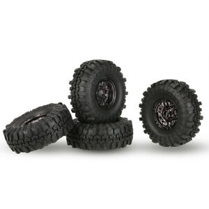 4Pcs 110mm RC Tires with Beadlock Wheel Rim for RC 1:10 D90 AXIAL RC4WD Crawler