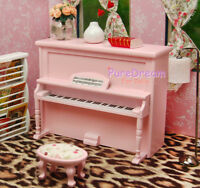 1/12 Dollhouse Music Room Furniture Instrument Wooden Pink  Piano & Stool HE005L