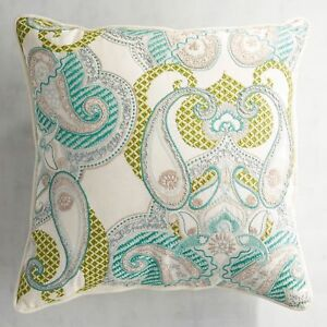 Pier 1 Pillow Blue Green Embroidered Paisley Maui Indoor Outdoor 17 x 17 New