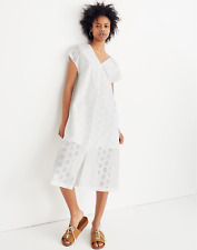 Madewell Womens Shift Dress Embroidered Eyelet Midi White Cotton V Neck M NWT