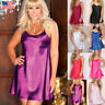 Women Satin Silk Lace Robe Mini Dress Sleepwear Lingerie Nightdress Nightgown US