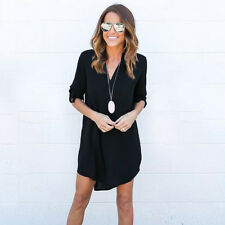 Oversized Damen Asymmetrisch Chiffon Blusen Tops Longshirts Tunika Strand Kleid