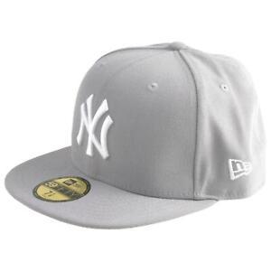 New Era 59Fifty MLB Baseball Cap New York Yankees NY  Grau Flat Brim Basecap WOW
