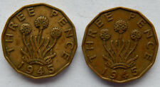 """1945 UK Great Britain Three Pence Coin  KM#849 """"Lot of 2 Coins"""" SB5681"""