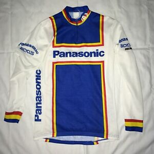 Vintage Panasonic Bicycling Cycling Long Sleeve Jersey By Louis Garneau Fits S/M