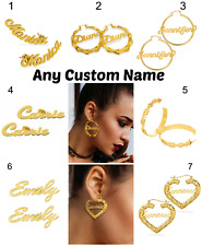 Womens Name Personlized Sterling Silver 14KGold Plate Hoop Stud Bamboo Earrings