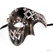 Steampunk Phantom Masquerade Mask with Chain for Men - Metallic Gold/Black