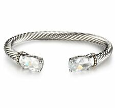 Cable Cuff  Bracelet Twisted Rope Clear Quality CZ Crystal Cabochons Oval