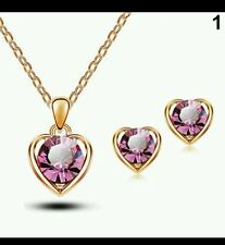 Pink  crystal rose gold look heart necklace and earring set (723)