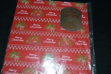 Vintage Hallmark Paper Gift Wrap MERRY CHRISTMAS Flower Baskets Sealed! NOS