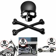 3D Black Skull Bone Car Motocycle Harley Decal Metal Sticker Emblem Badge