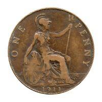 KM# 810 - One Penny - Freeman 171 (1+A) - George V - Great Britain 1911 (F)