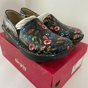Alegria Debra 380 Reverie Slip On Size 40/9.5-10 Black Floral Women's New