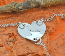 3 Piece Heart Puzzle Necklace-925 Sterling Silver-Family Gift,Friendship,Sisters