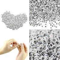100Pcs White Letter Alphabet Acrylic Beads For Bracelet Beads Hot 6mm DIY C C0X7