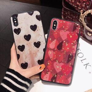 Bling Glitter Foil Love Heart Pattern Glossy Epoxy Soft Back Phone Case Cover