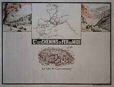 """""""CARCASSONNE (Cie des CHEMINS de FER du MIDI)"""" Affiche originale entoilée 1927"""